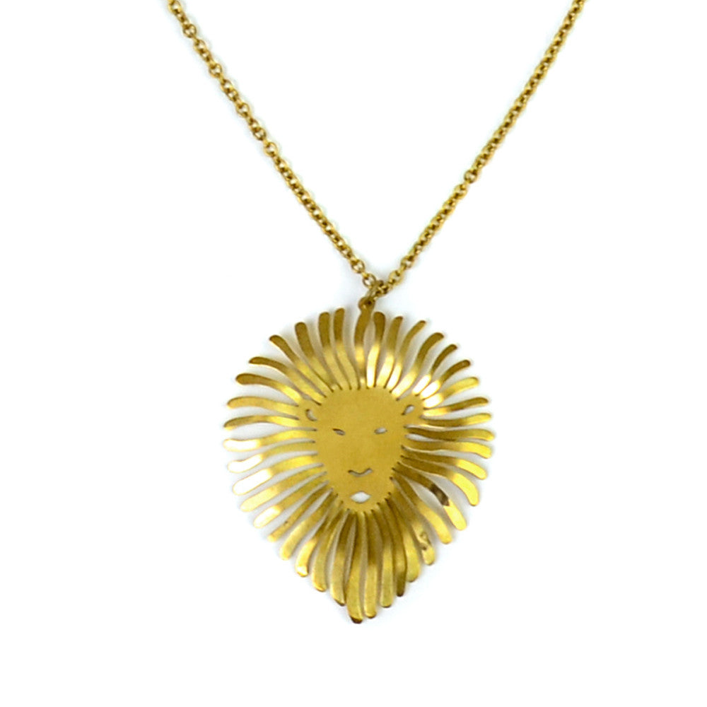 Lion's Head Brass Necklace