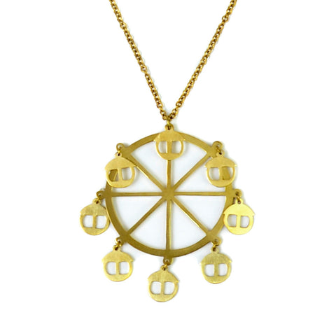 Ferris Wheel Brass Necklace