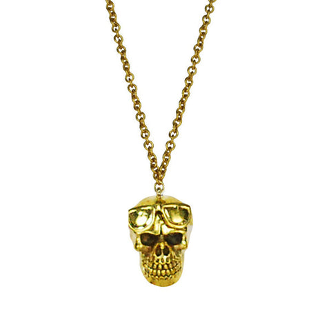 Skull With Shades Brass Necklace