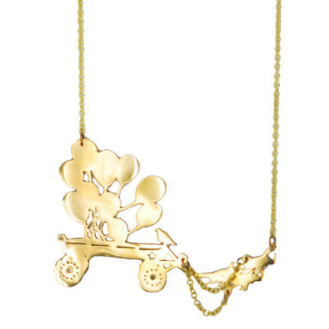 Balloon Cart Brass Necklace