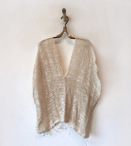 Sanchez Short Open Weave Cotton Poncho