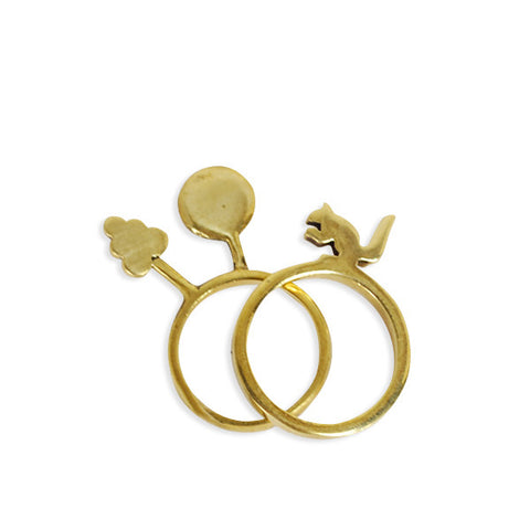 Squirrel Tree Story Duo Brass Ring