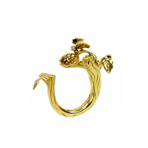 Bird Nest on Branch Brass Ring