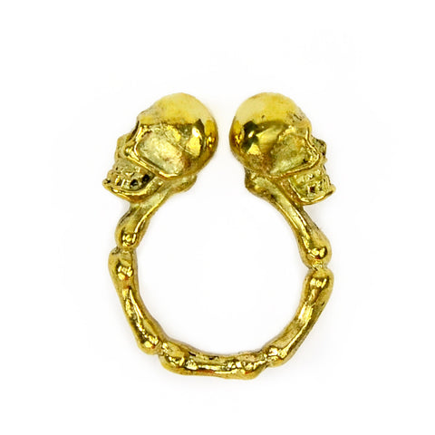 Two Skull Brass Ring