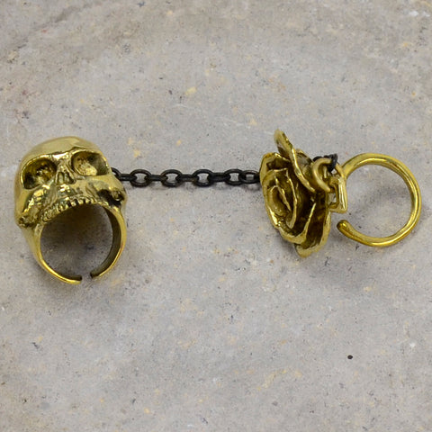 Skull And Rose Brass Ring