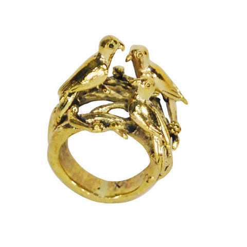 Three Birds Brass Ring