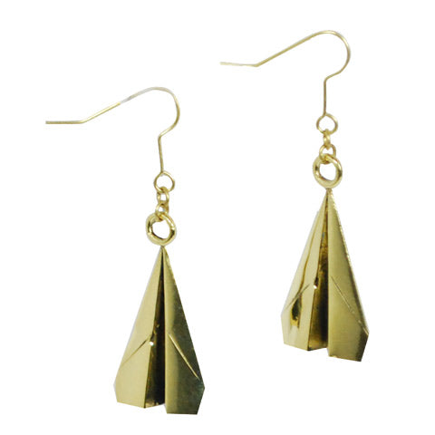 Single Paper Plane Brass Earrings