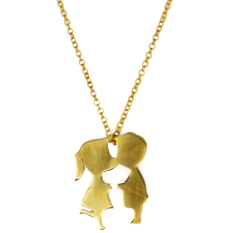 Boy and Girl Kissing Brass Necklace