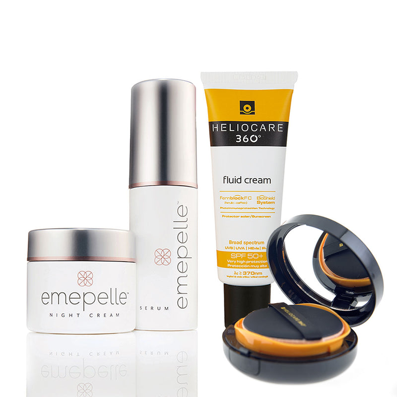 Exclusive Partner Package - Emepelle Serum & Night Cream + Heliocare 360° Fluid Cream + FREE Heliocare 360° Compact