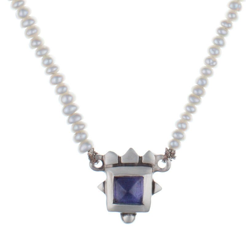 ARCHIVE COLLECTION: pyramid iolite pearl necklace (circa 1996)