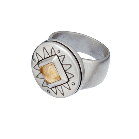 ARCHIVE COLLECTION: citrine compass ring size 7.25 (circa 1992)