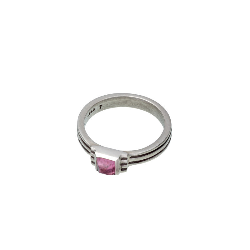 ARCHIVE COLLECTION: pink tourmaline checker ring size 7 (circa 1994)