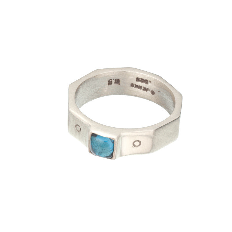 ARCHIVE COLLECTION: blue topaz decagon ring size 6.5 (circa 1994)