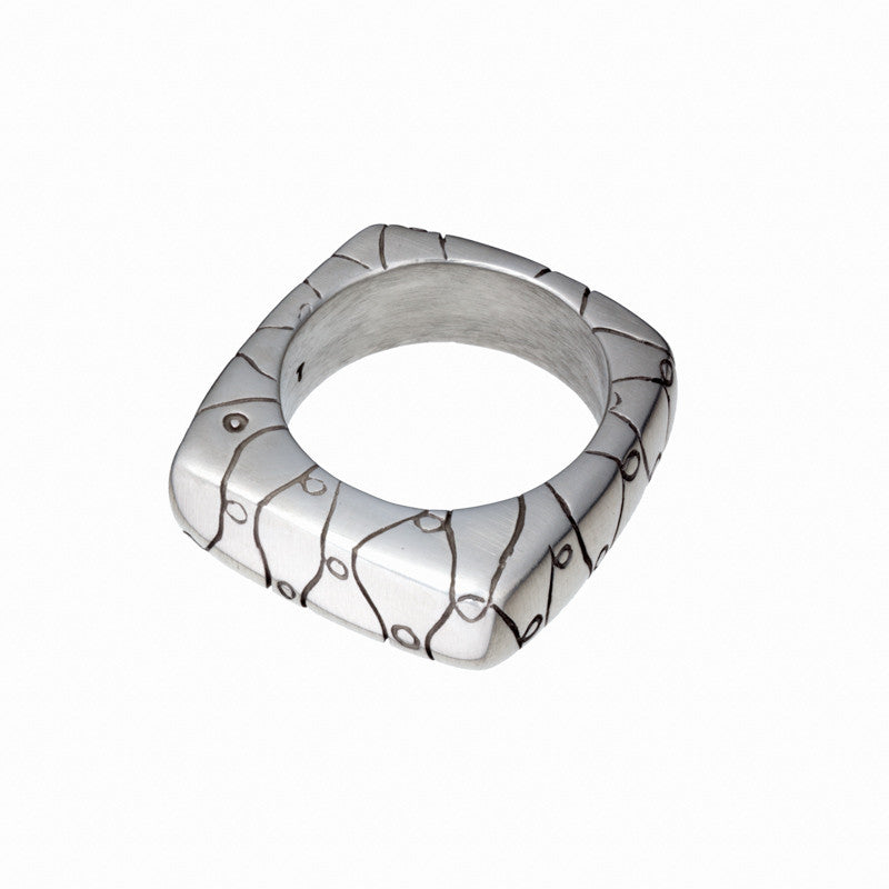 ARCHIVE COLLECTION: lattice-y square ring size 7 (circa 2002)