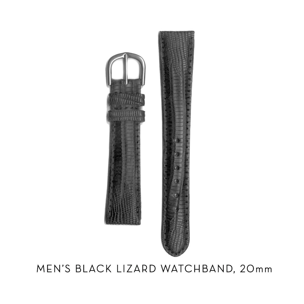 men's black lizard watchband, 20mm