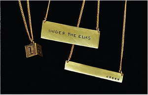 Hand engraved recycled brass bar necklace