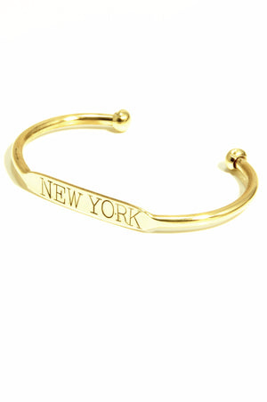 "Hand stamped brass cuff ""NEW YORK"""