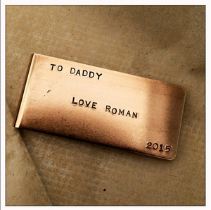 Money Clip fathers day gift Brass Engraved Monogram