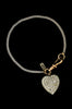 Fine sterling silver bracelet with vintage circa 1940 heart charm pavé set with rhinestones. FLAT VIEW