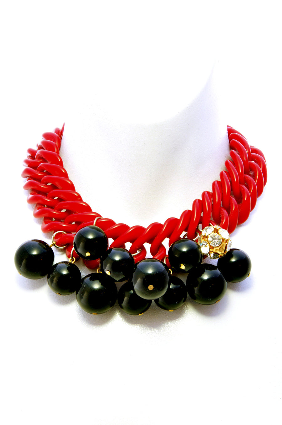Chunky short bobble necklace.Front