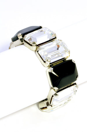 Glass & Crystal rectangular 'octagon' cabochon bracelet on leather cord. ON WRIST