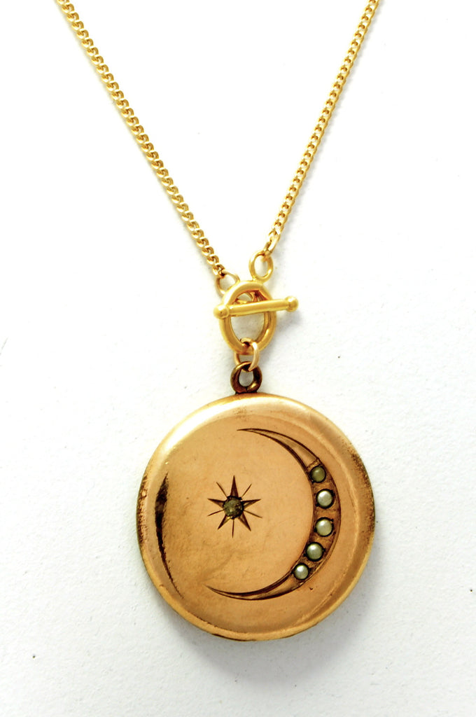 VICTORIA pearl crescent and star locket necklace