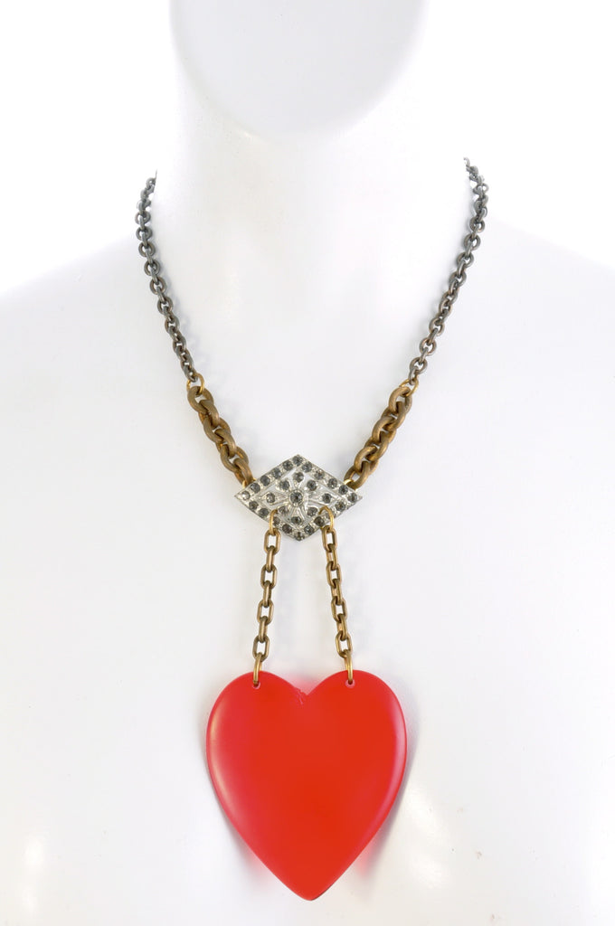 Oversized vintage red heart and brass chain necklace with vintage rhinestone one of a kind buckle, CLOSE UP.