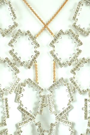 Vintage Clear Rhinestone close-up on Long Tessellated Rhinestone Bib Statement Necklace.