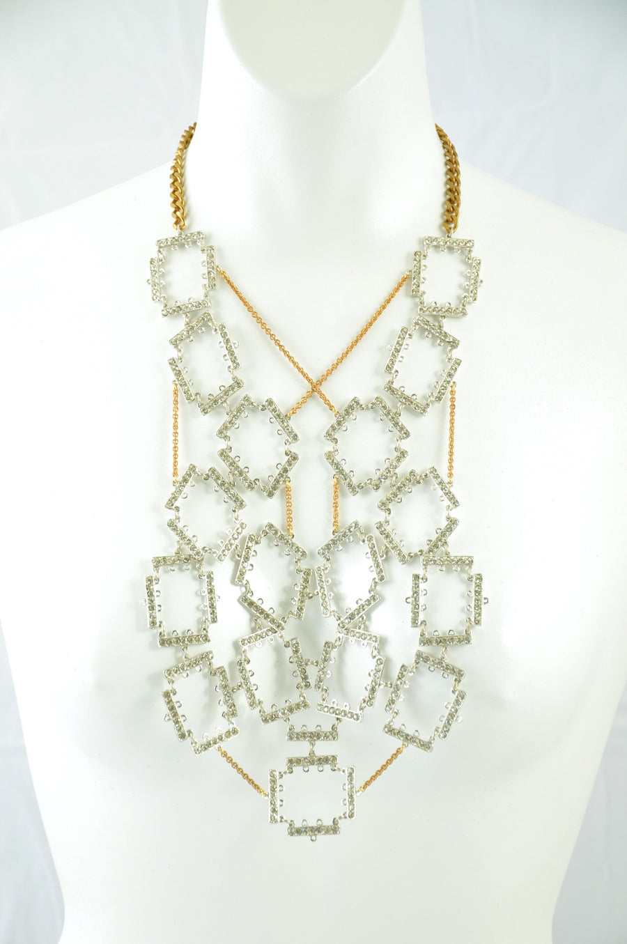 Long Tessellated Rhinestone Bib Statement Necklace.