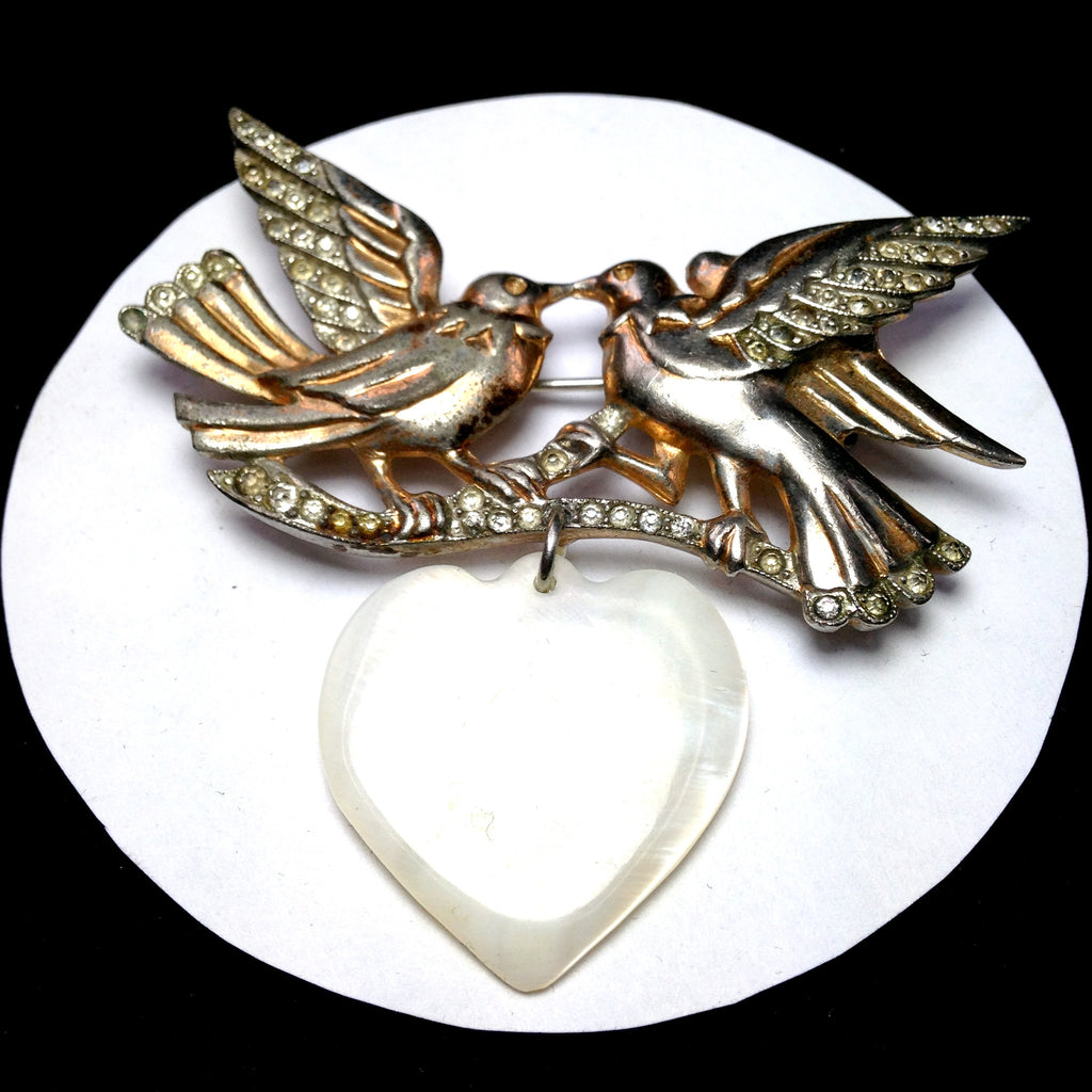 ADAM Rhinestone set lovebirds pin with heart pendant/Front.