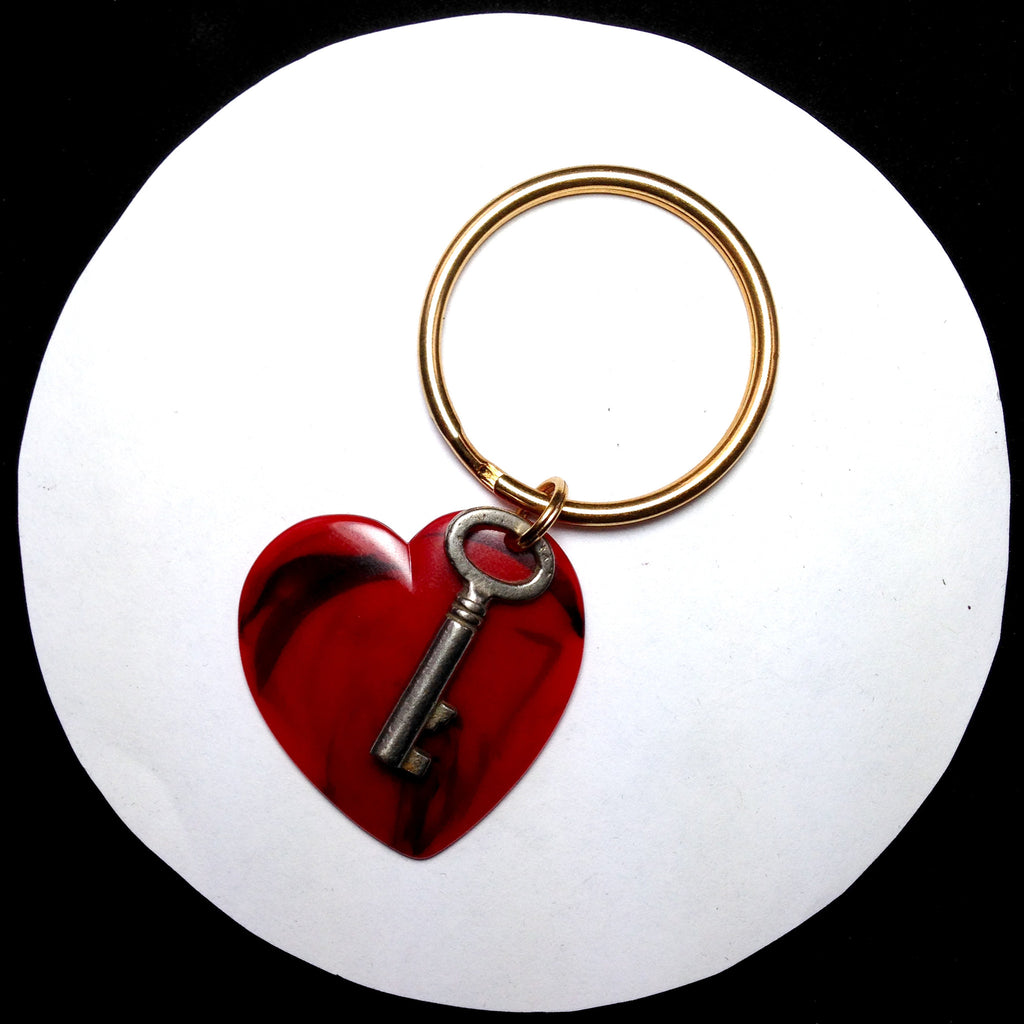 Vintage red heart and antique key keyring. FRONT VIEW