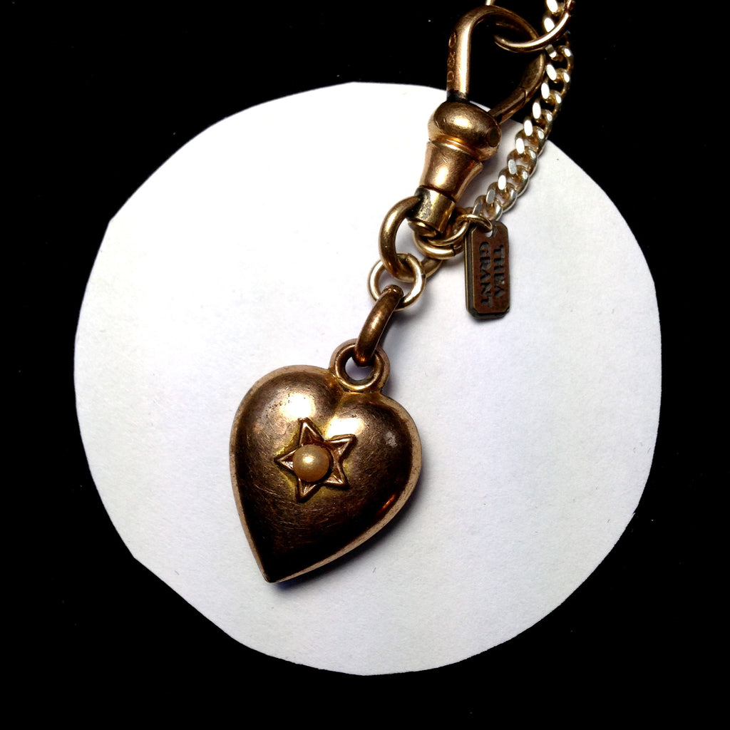 Victorian antique puffed gold filled heart on sterling chain bracelet, faux pearl. FRONT DETAIL.