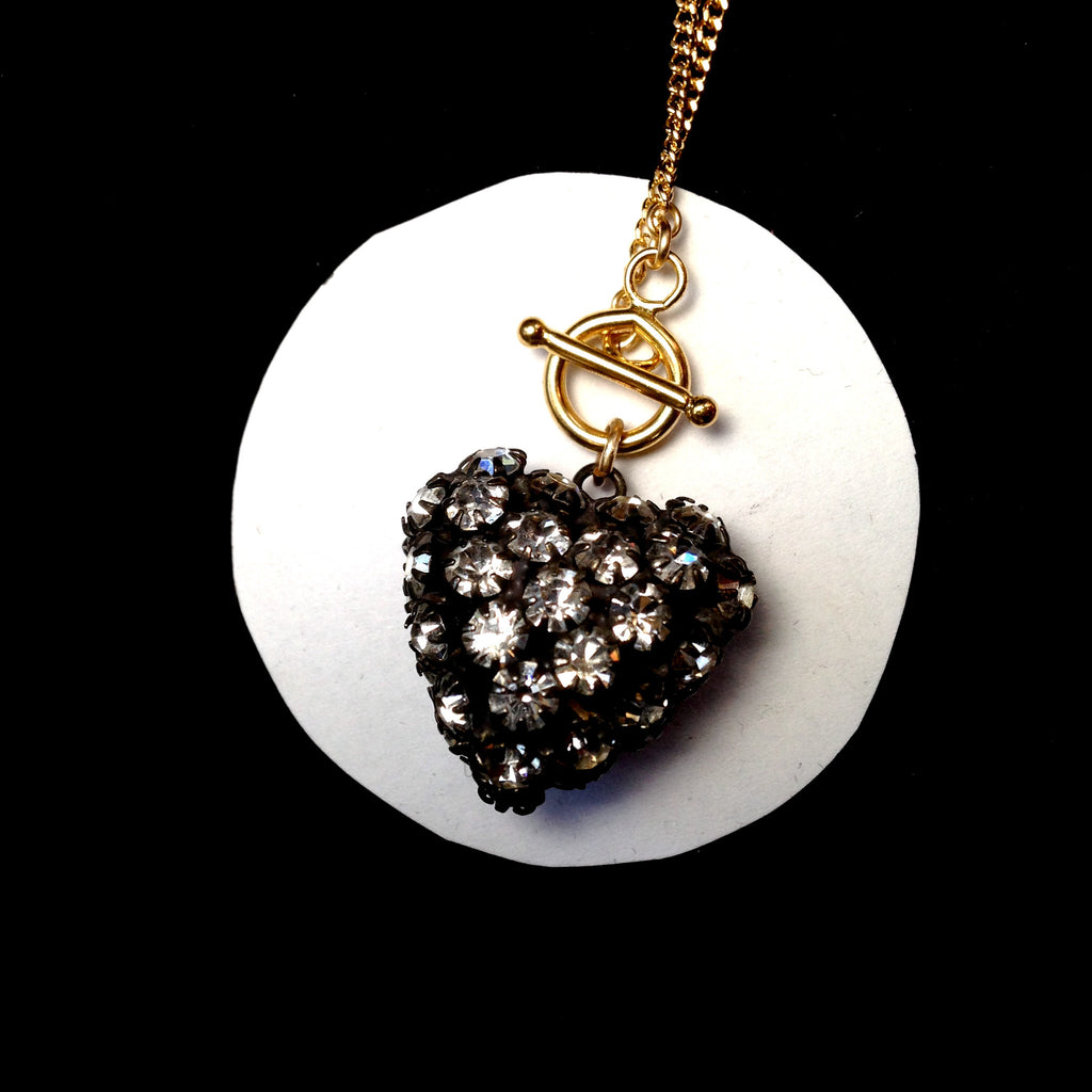 MOORE rhinestone puff heart necklace