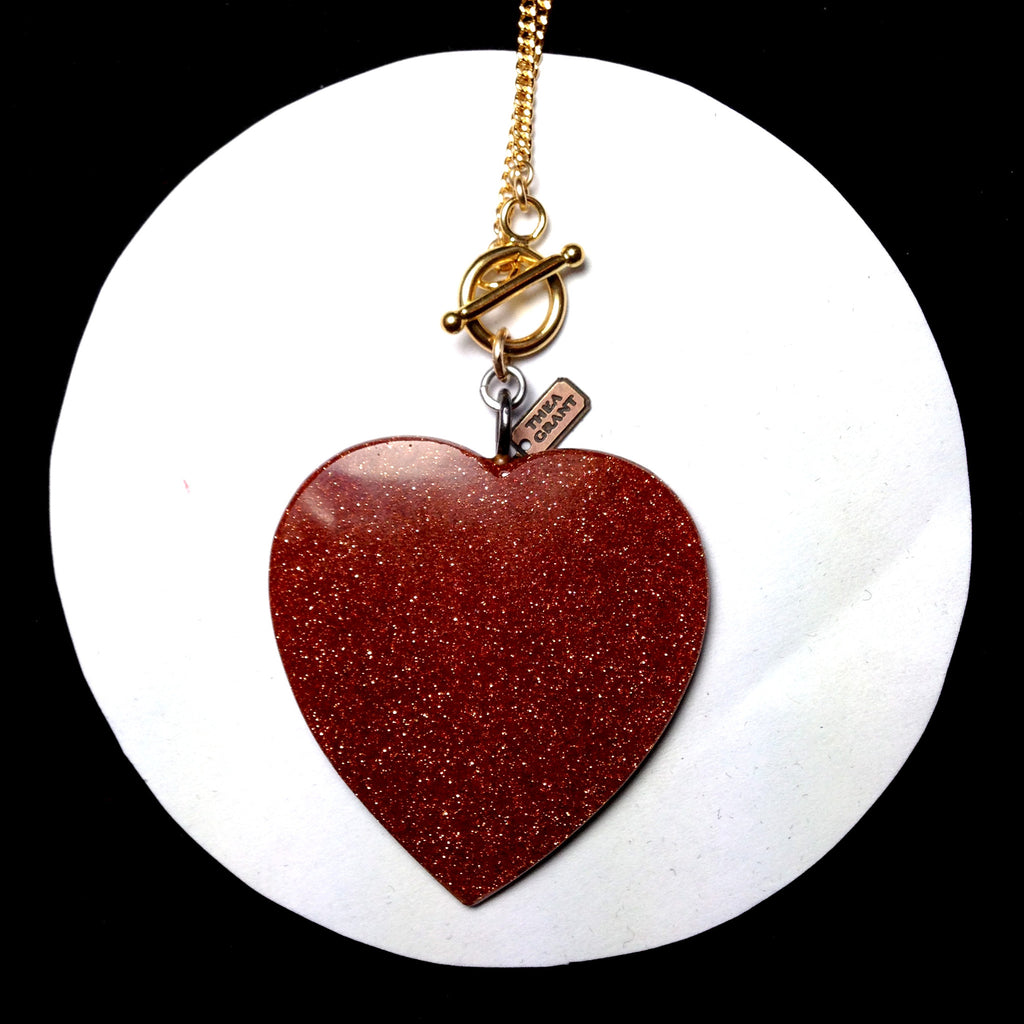 Large antique Victorian goldstone heart charm on gold filled chain necklace, HEART CLOSE UP
