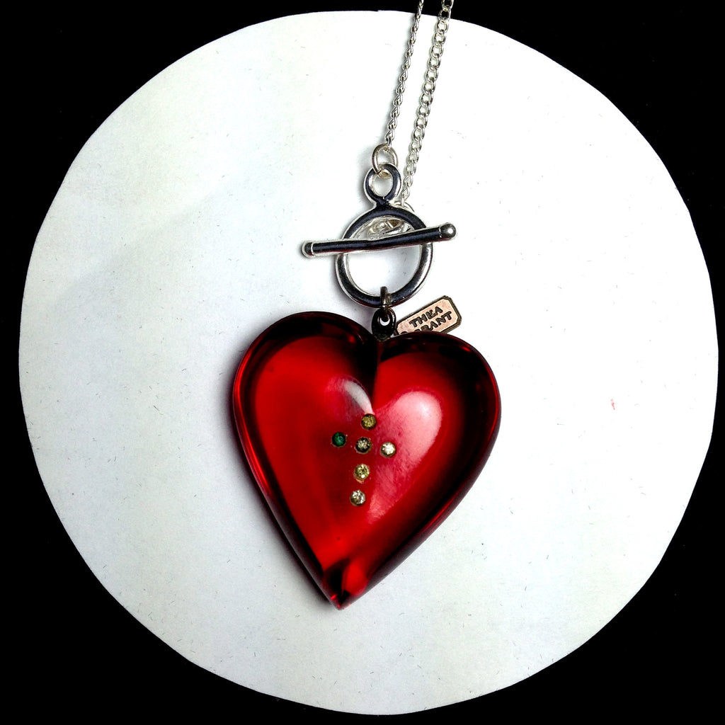 RILKE vintage red lucite heart charm with rhinestone cross necklace. CLOSE UP