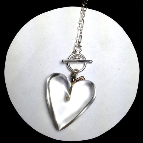 CAREW Clear lucite heart necklace