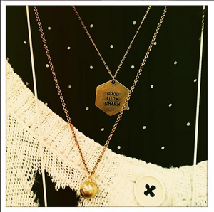 Diamond and Brass ball layered necklaces good luck charm