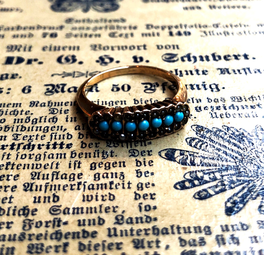 Edwardian seed pearl turquoise ring