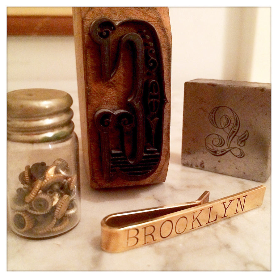 "Custom hand stamped tie bar ""Brooklyn"""
