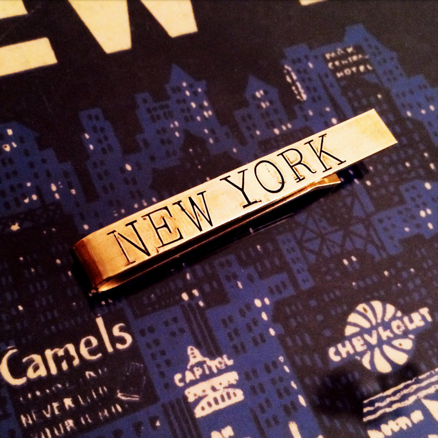 "Hand Stamped brass tie bar ""New York"""