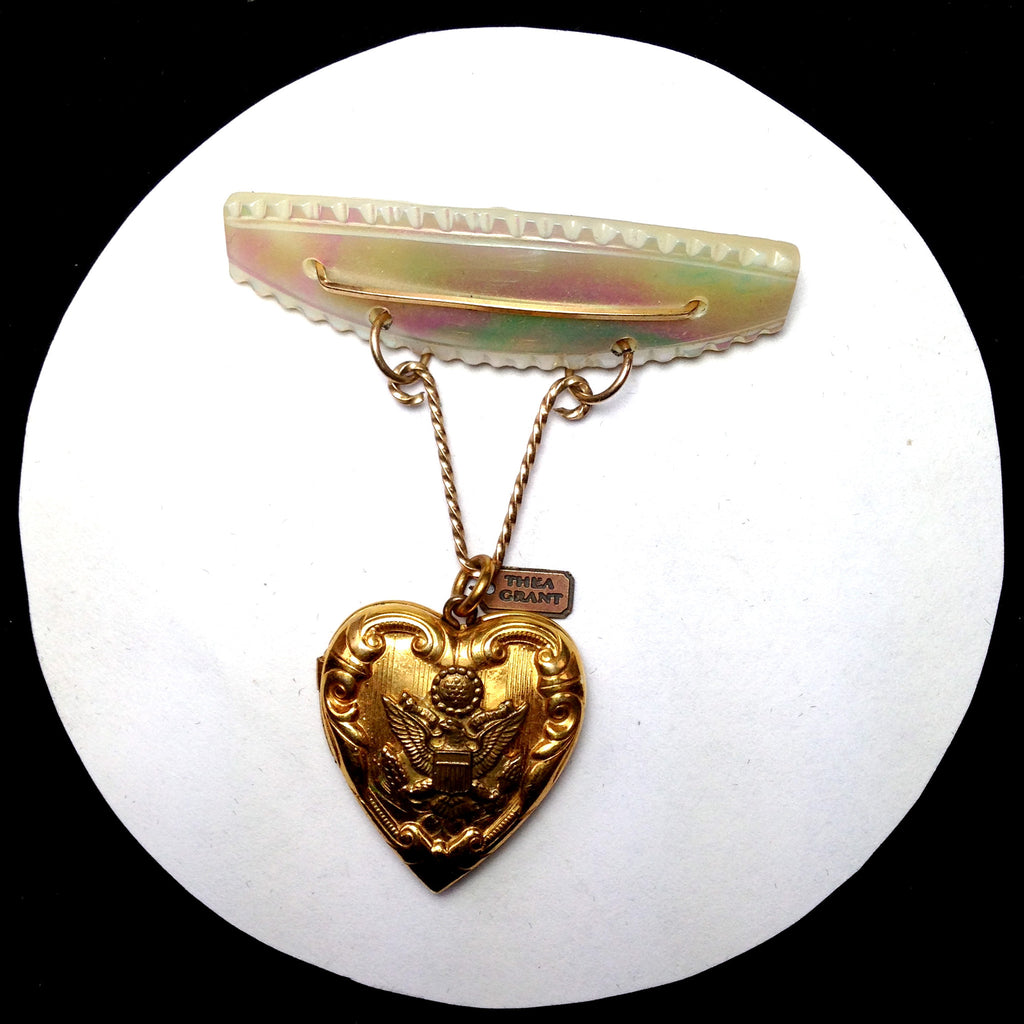Vintage Mother of Pearl pin with vintage circa 1940's sweetheart American Eagle military heart locket, FRONT VIEW