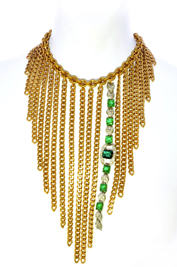Chain fringe bib necklace with rhinestone accent.Front
