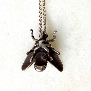 Bee fly recycled sterling silver charm necklace