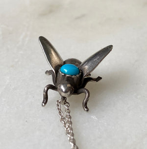 Turquoise Bee fly recycled sterling silver charm necklace