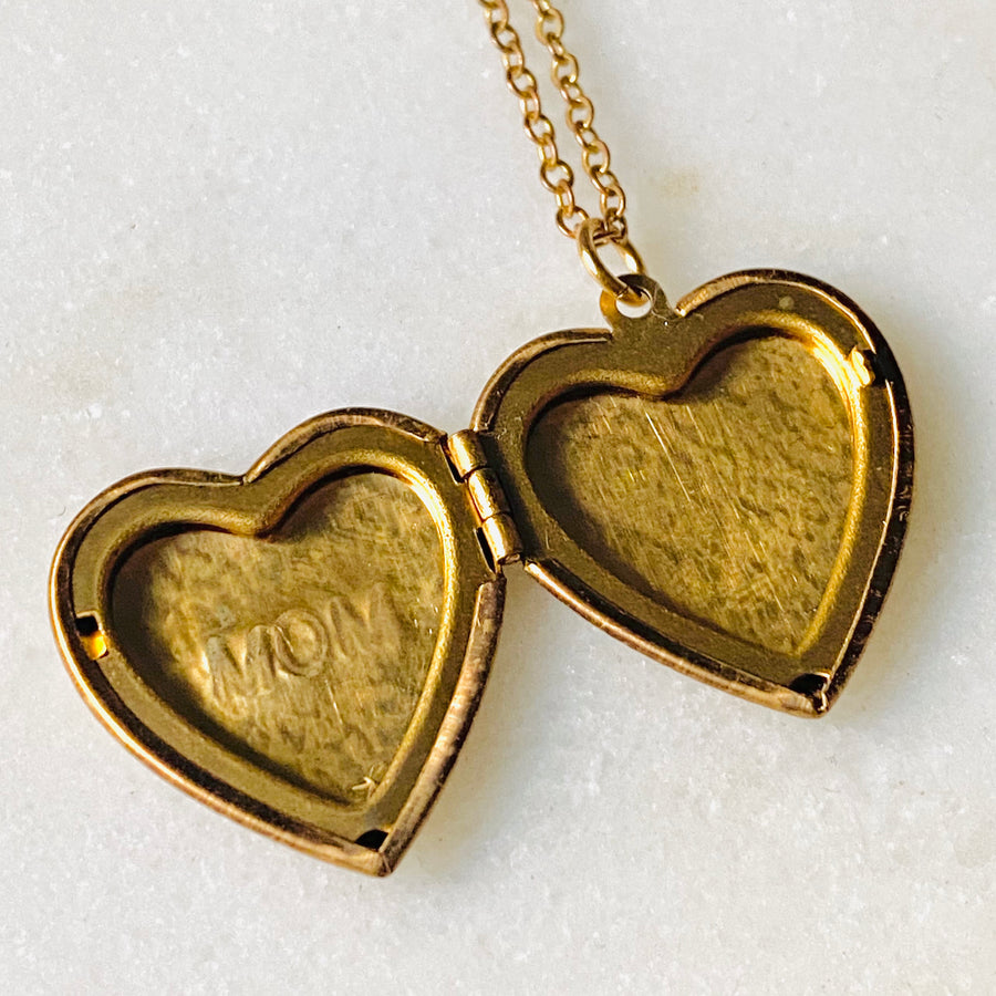Custom Engraved Vintage Brass Heart Locket Pendant