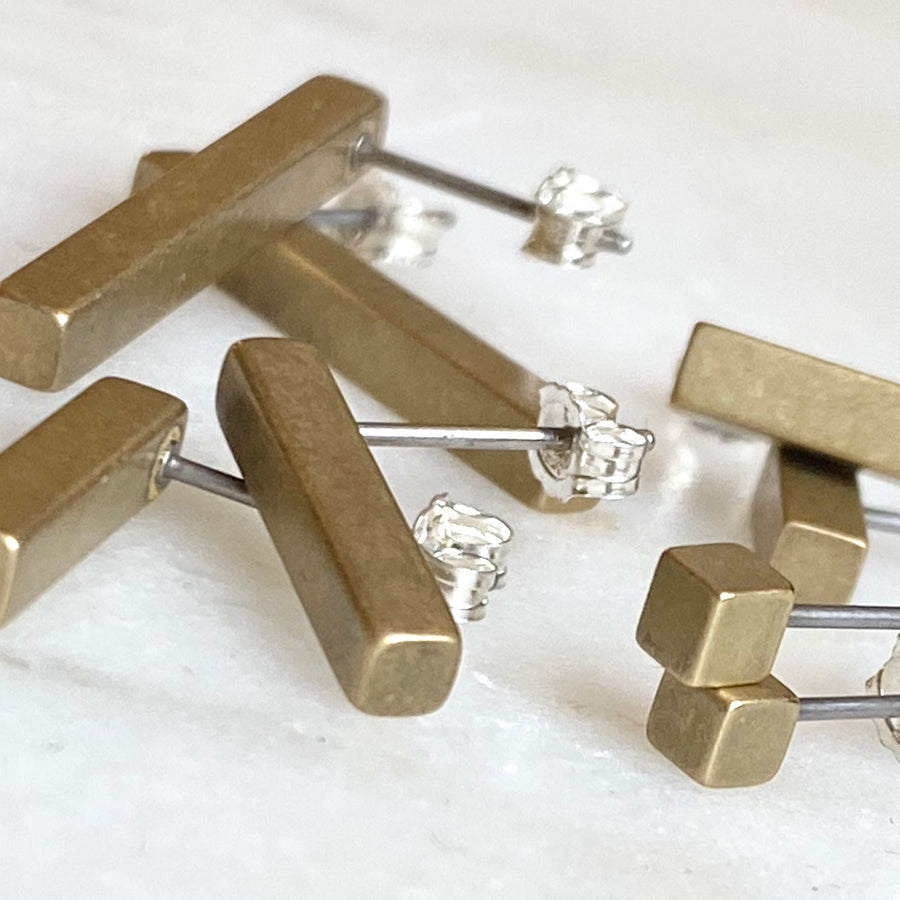 Brass cube and bar stud earrings