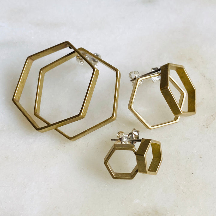 Brass hexagon hoop stud earrings