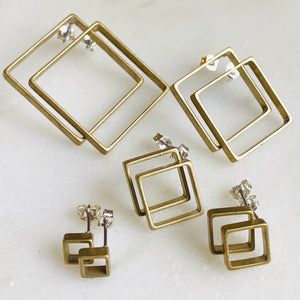 Brass stud square geometrical earrings
