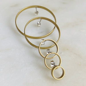 Brass hoop circle stud earrings