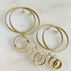 Brass hoop circular stud earrings